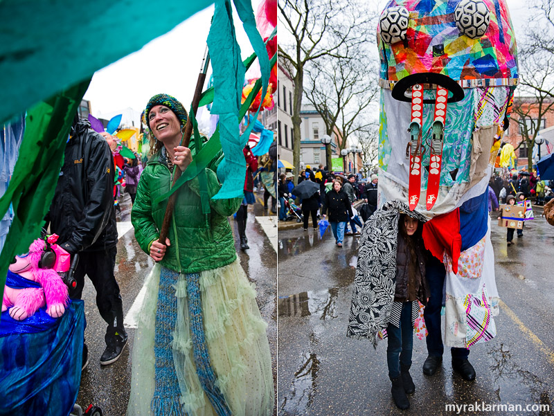 FestiFools 2011 | Their spirits were not dampened, but it's very possible their socks were. I [heart] those red skis!