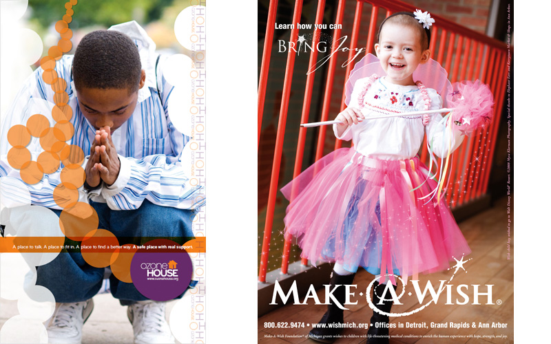 Sweetwaters Makes the World Sweeter — andSmaller | Part of a series of Ozone House posters designed by Pryor Design. | A Make-A-Wish advertisement featuring Wish-Kid Izzy by Whitfield Design.