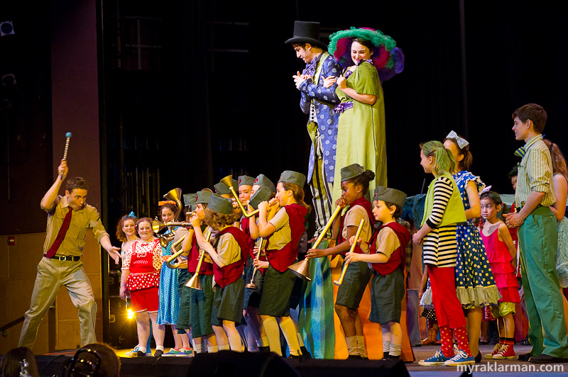 "Pioneer Theatre Guild: Seussical | In ""Here on Who,"" the Mayor of Whoville and Mrs. Mayor (Ari Axelrod and Grace Gilmore) introduce the Whos, including the marching band — led by the gung-ho General Genghis Khan Schmitz (Robby Eisentrout)."