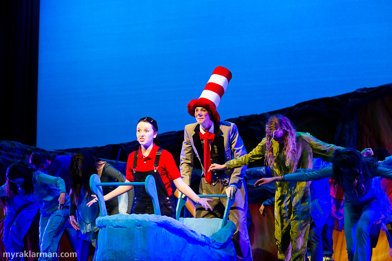"Pioneer Theatre Guild: Seussical | The thinkful Jojo (Hannah Hesseltine) and the mischievous Cat in the Hat (Russell Norris) imagine that Jojo's bathtub is McElligot's pool in ""It's Possible."""
