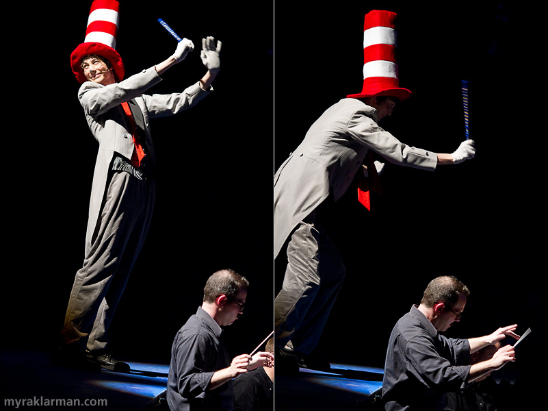 Pioneer Theatre Guild: Seussical | In the overture before Act 2, the Cat in the Hat (Russell Norris) mocks the orchestra director (Tyler Driskill).