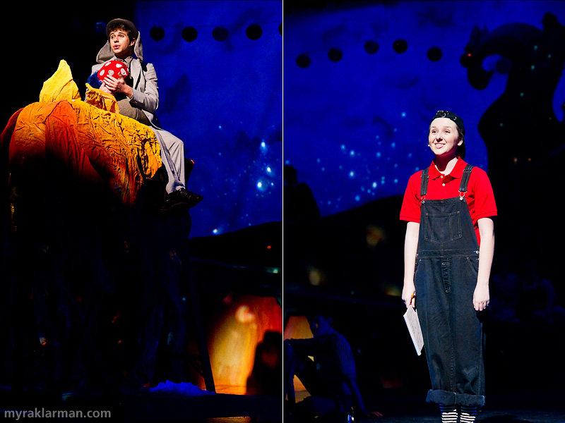 "Pioneer Theatre Guild: Seussical | Horton (Hank Miller) and Jojo (Hannah Hesseltine), in their darkest hour, find solace wishing for ""Solla Sollew,"" a trouble-free paradise."