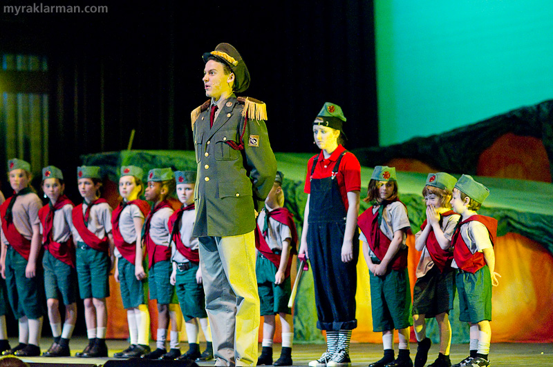 "Pioneer Theatre Guild: Seussical | ""Green Eggs and Ham II"": As Christmas and the threat of war near, Jojo gathers his nerve to go AWOL. (Some of the littlest cadets, no doubt, found it hard not to giggle. I would have, too.)"