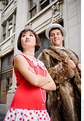 Pioneer Theatre Guild: Thoroughly Modern Millie (Publicity Shoot) | Jimmy Smith (Tim Van Riper) messes with Millie.